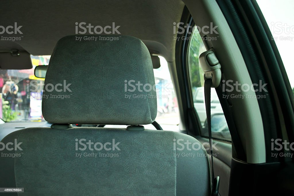 Cushion the driver's seat looking out the back stock photo