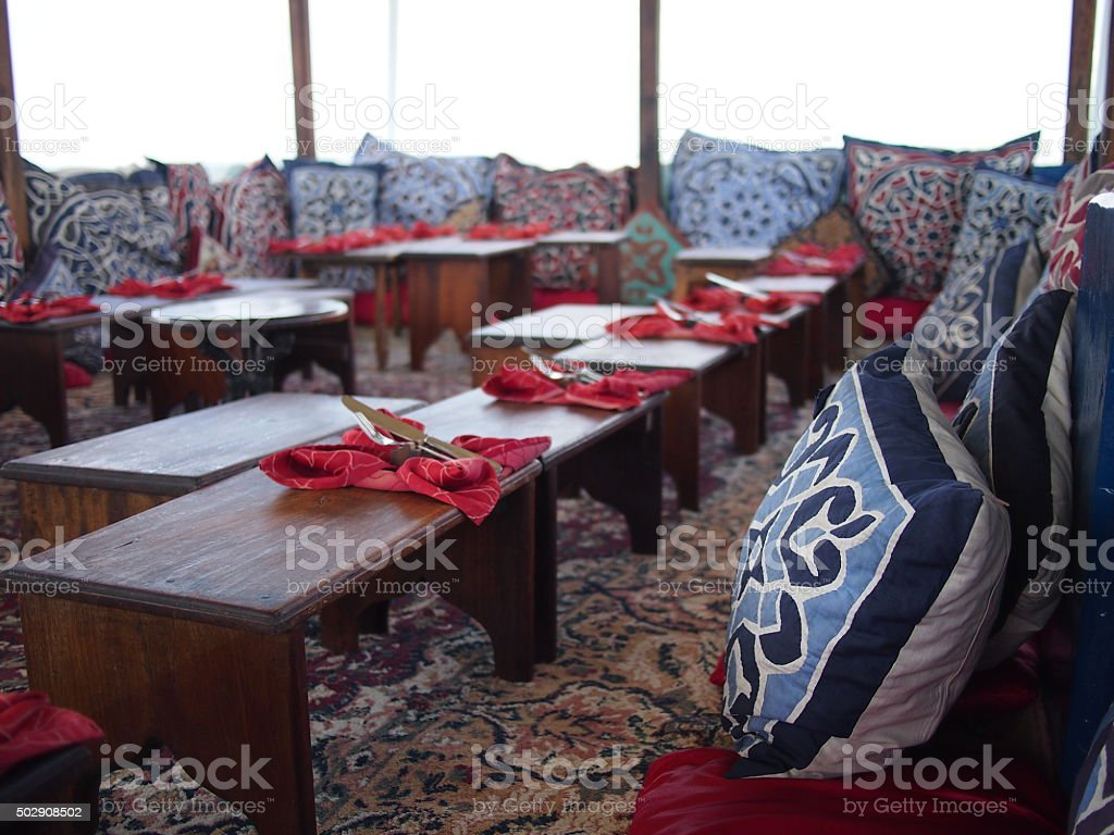Cushions in Stone Town rooftop bar stock photo