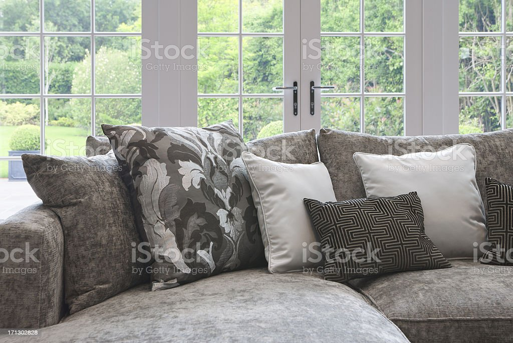 cushions on a couch stock photo