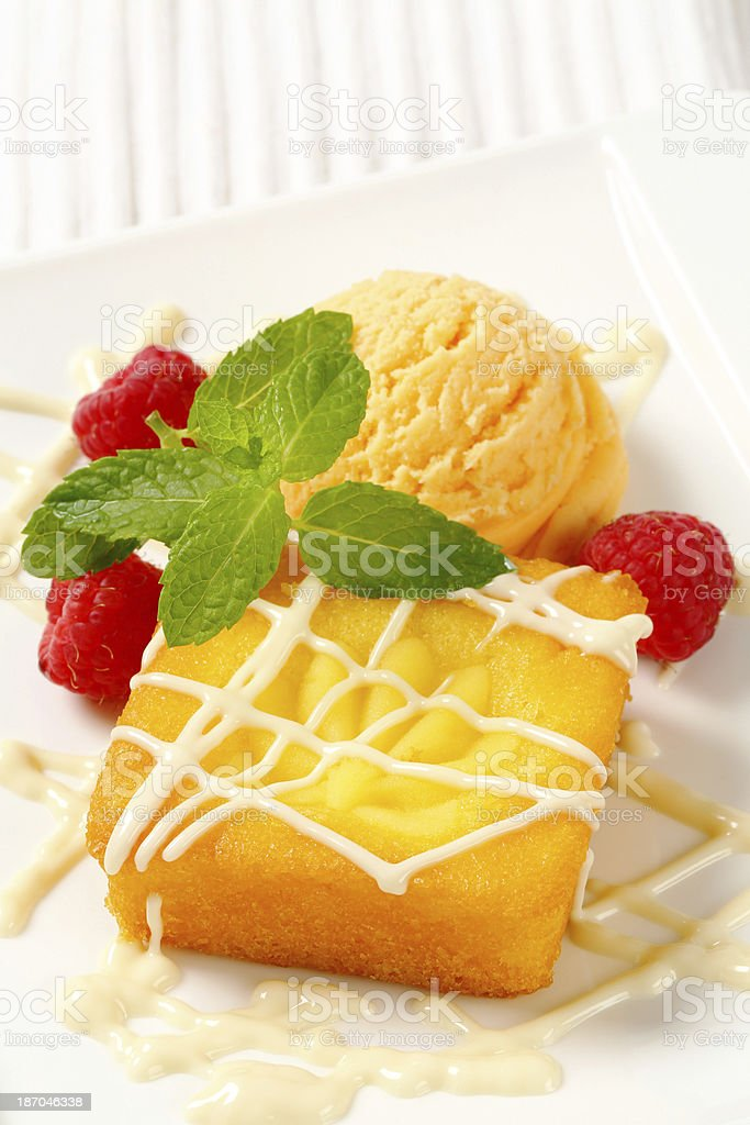 custard cake and apricot ice cream royalty-free stock photo