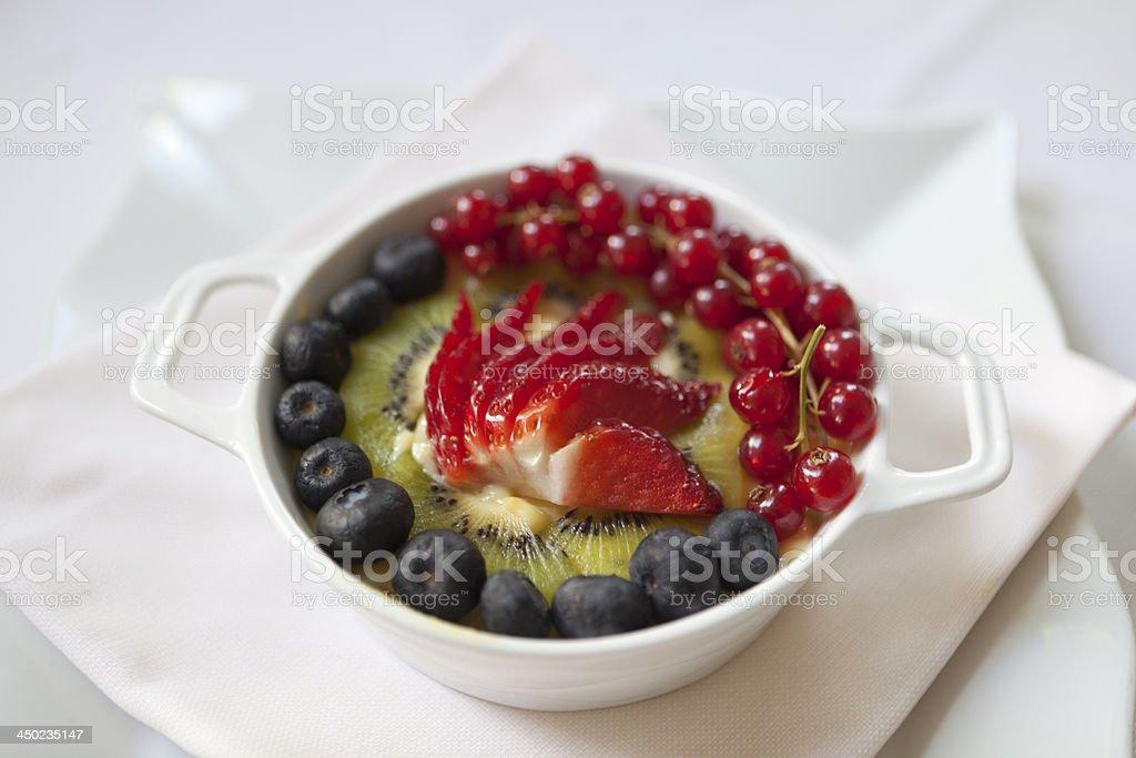 Custard cream with fruit stock photo