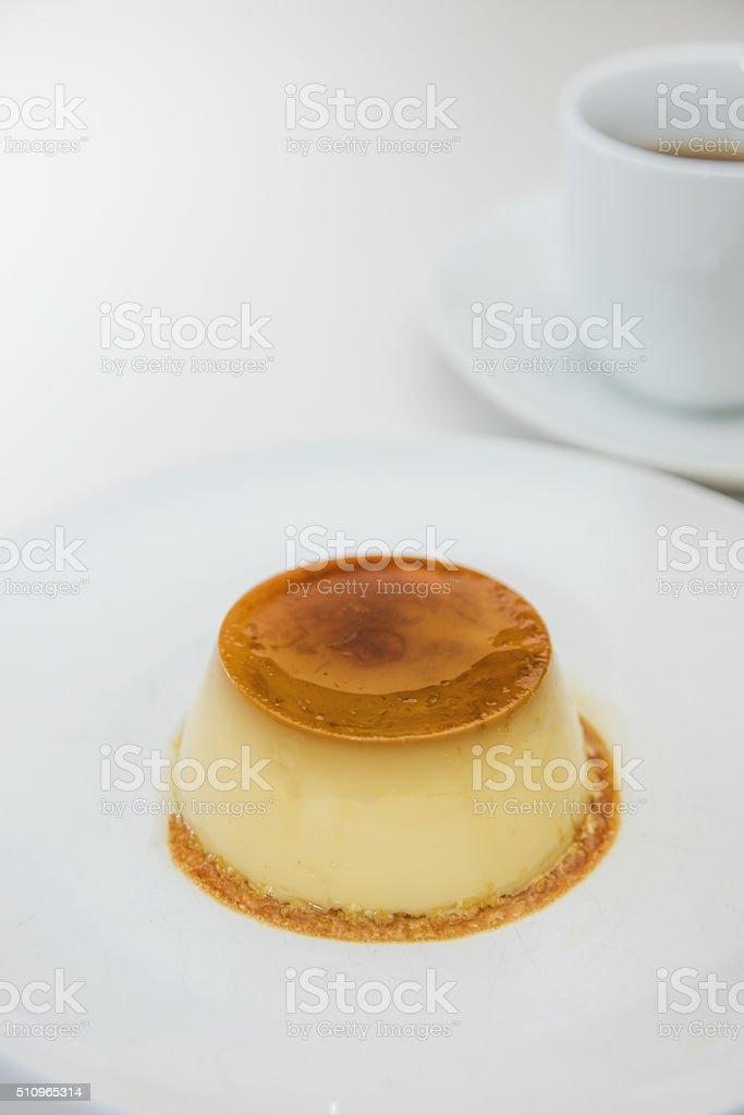 Custard pudding and Caffee stock photo