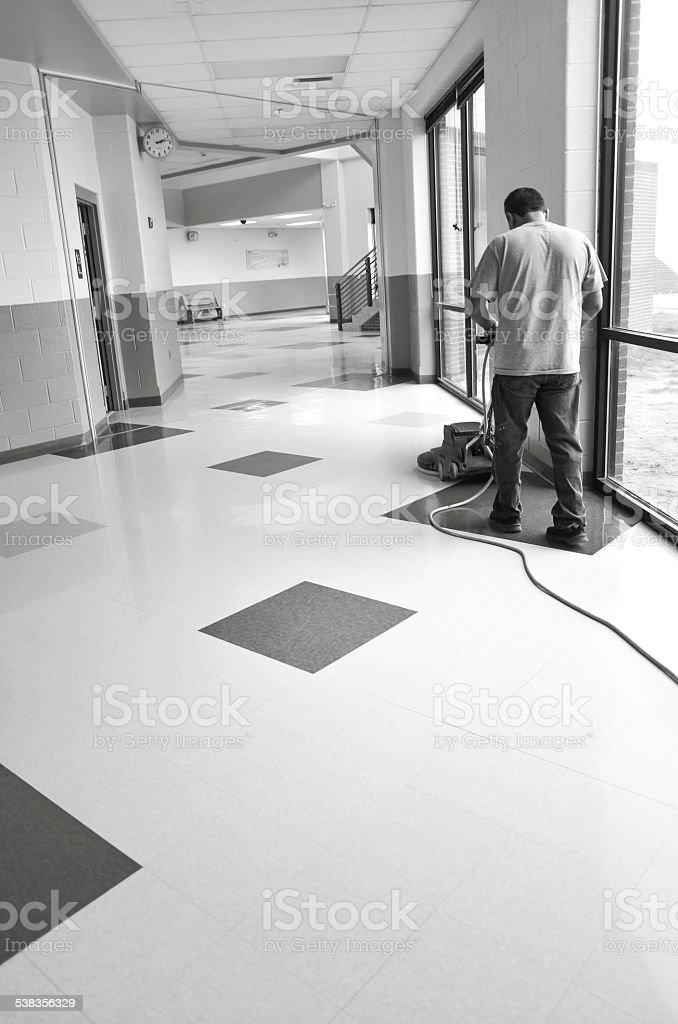 Custodian Buffing Floors stock photo