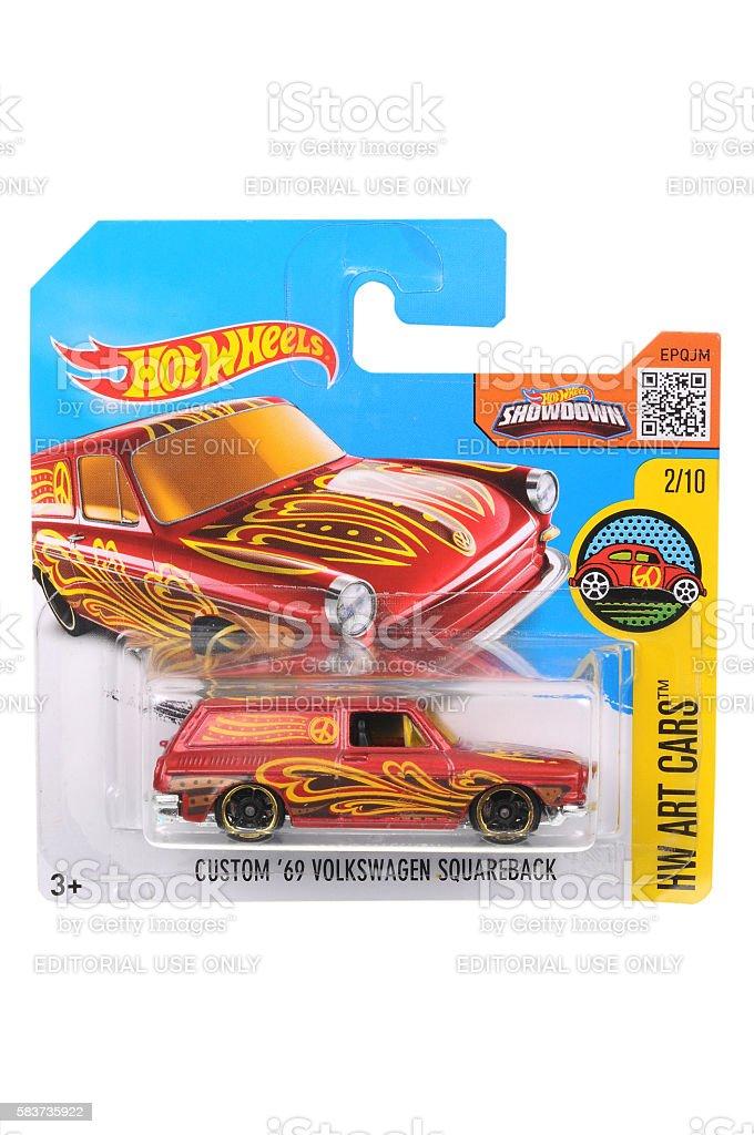 Custom 1969 Volkswagen Squareback Hot Wheels Diecast Toy Car stock photo