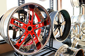 Custom alloy rims in showroom. Bling, for your ride