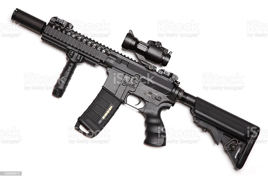 Custom build compact size M4A1 assault carbine stock photo