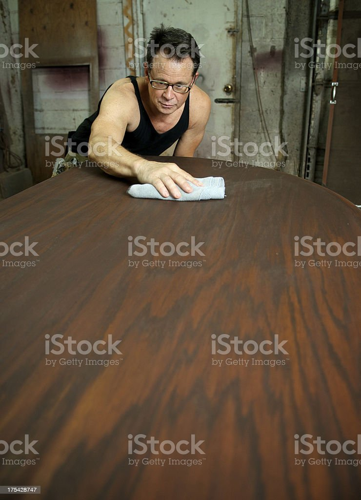 Custom Furniture Maker at Work stock photo