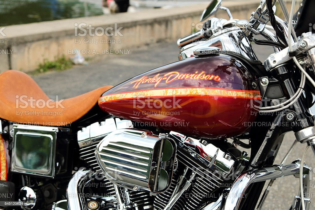 Custom Harley Davidson Dyna Motorcycle with custom paint and accessories stock photo