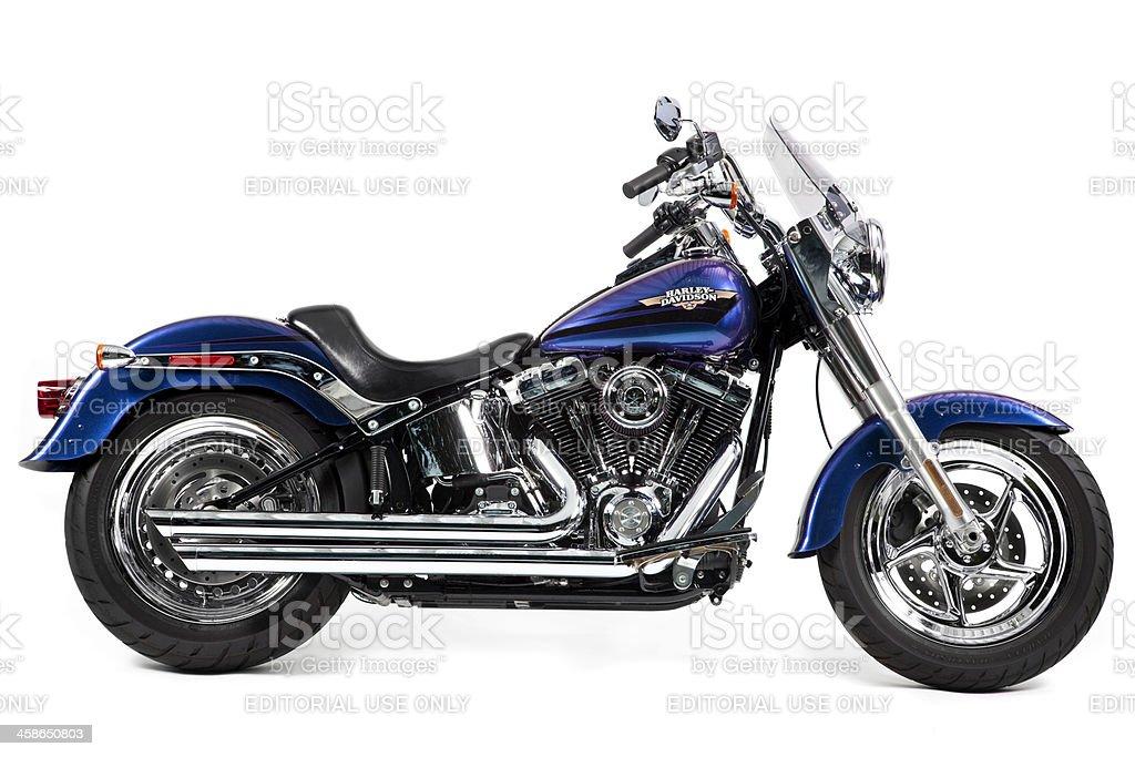 Custom Harley Davidson Fat Boy motorcycle on white background stock photo