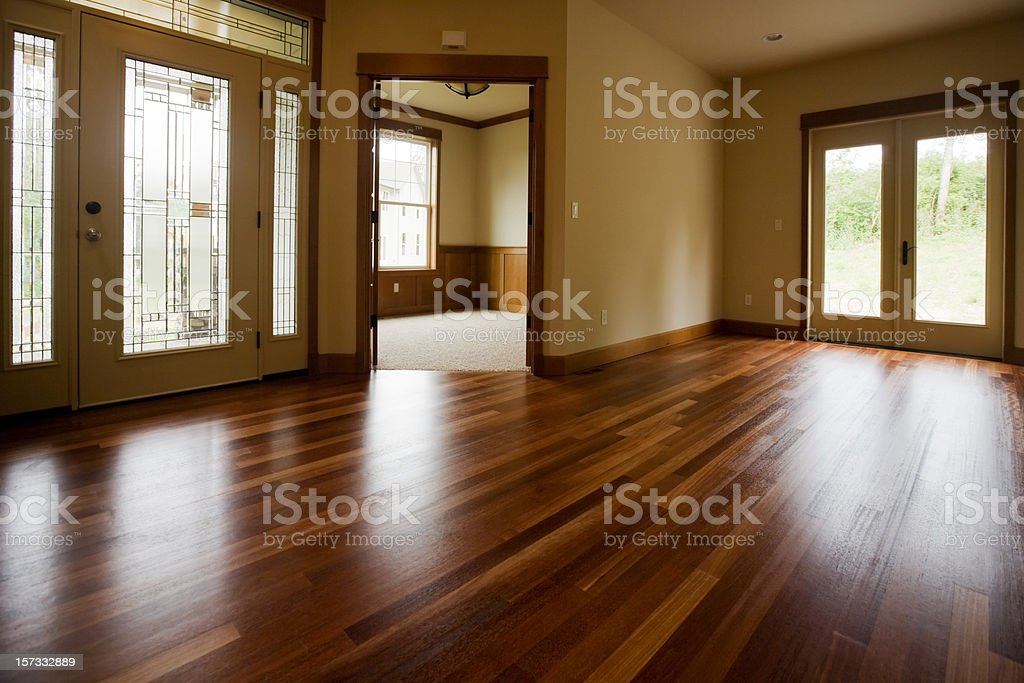 Custom home interior with beautiful warm wood floors royalty-free stock photo