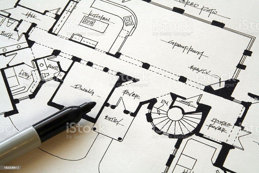 Custom Home Sketch royalty-free stock photo