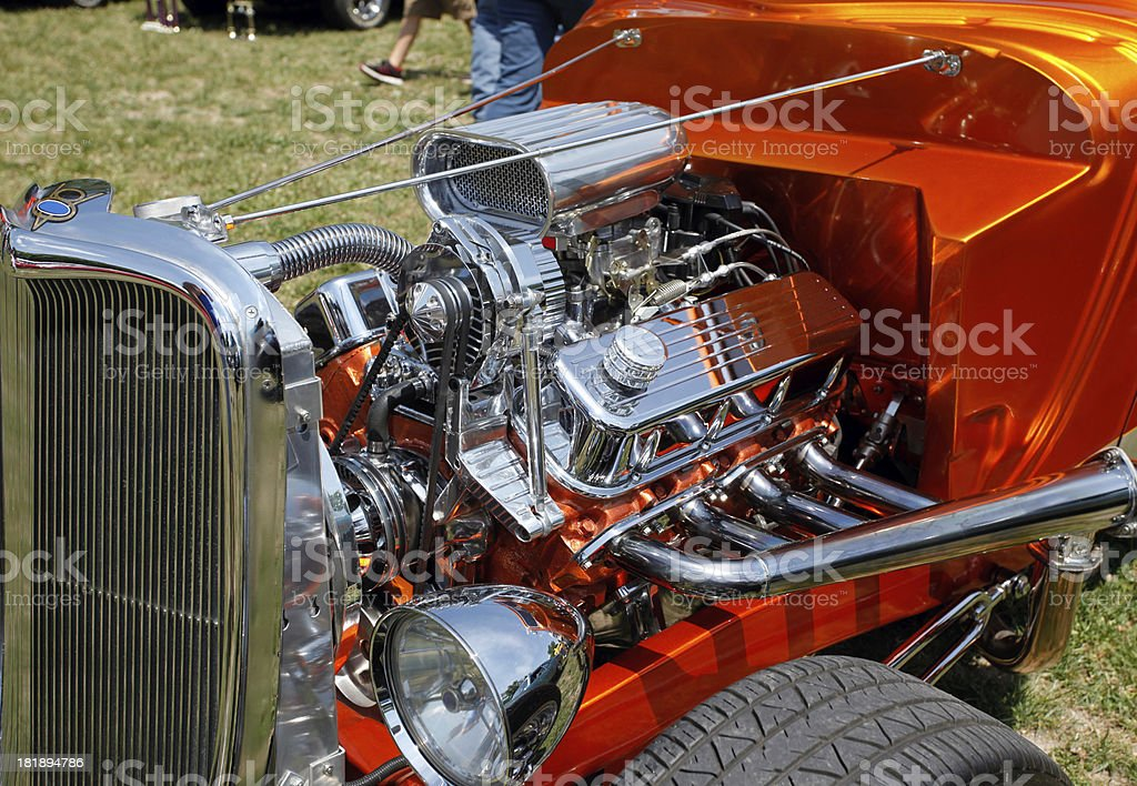 Custom hot rod engine.  Summer car show. royalty-free stock photo