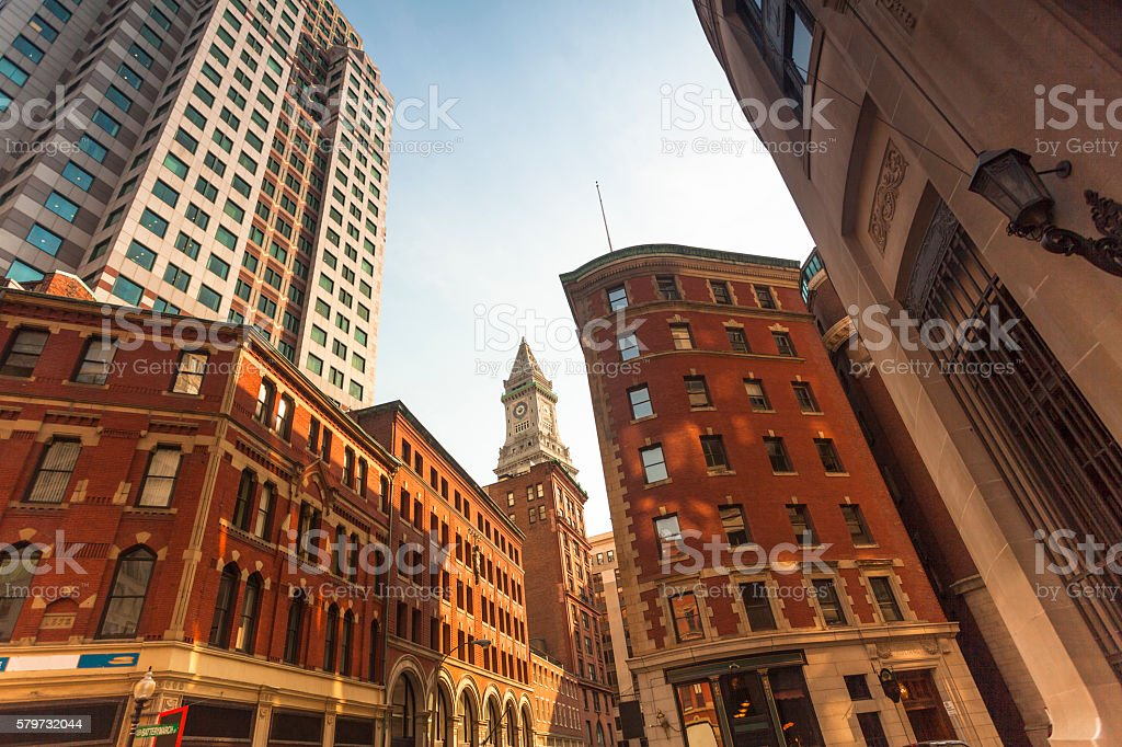 Custom House among the office buildings stock photo