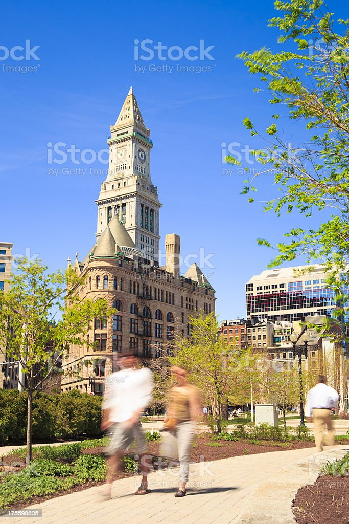 Custom House Tower and Wharf District Parks, Boston stock photo