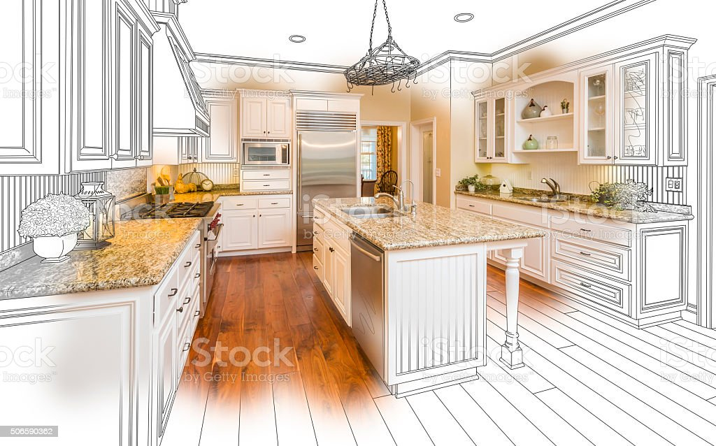 Custom Kitchen Design Drawing and Brushed Photo Combination stock photo