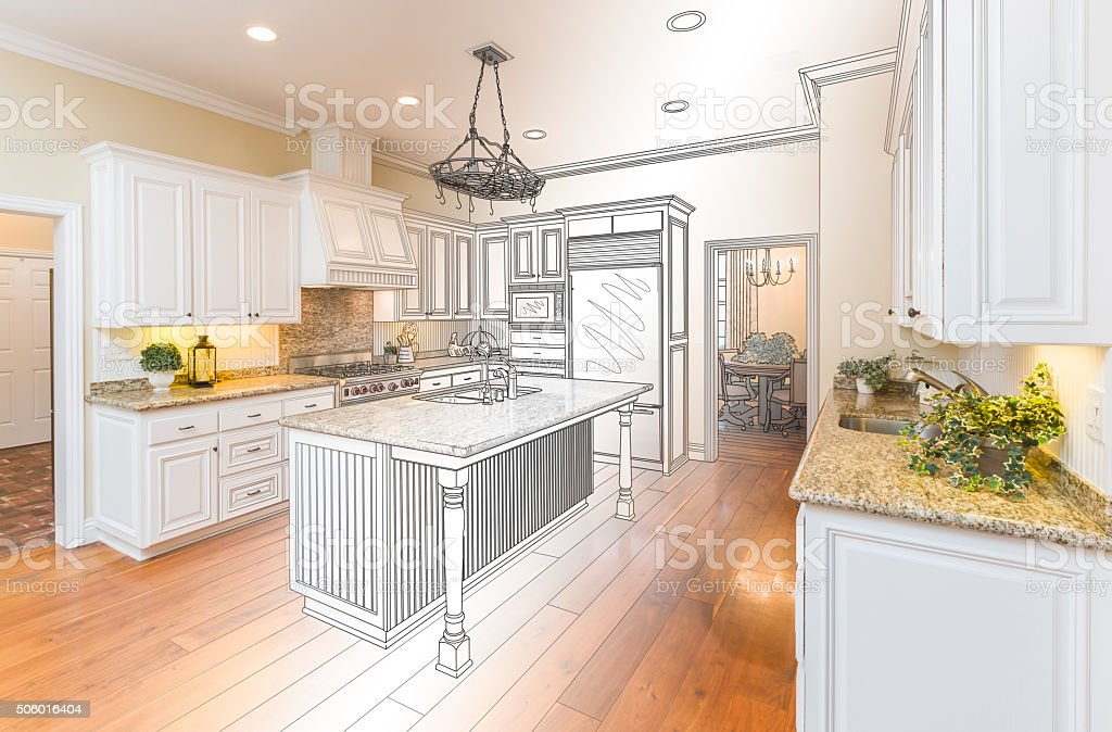 Custom Kitchen Design Drawing and Gradated Photo Combination stock photo