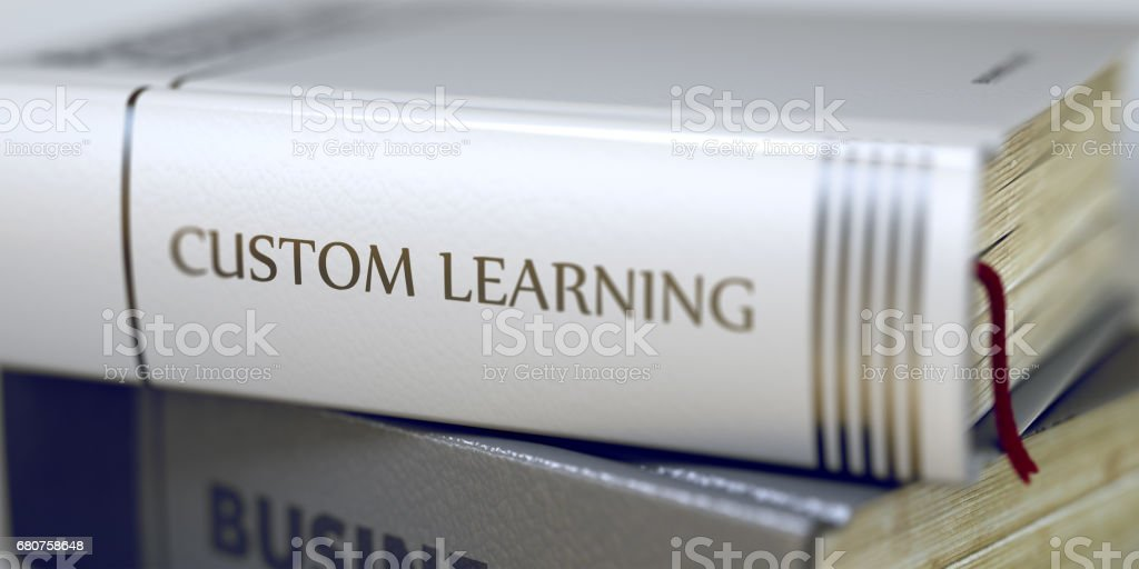 Custom Learning - Business Book Title. 3D stock photo