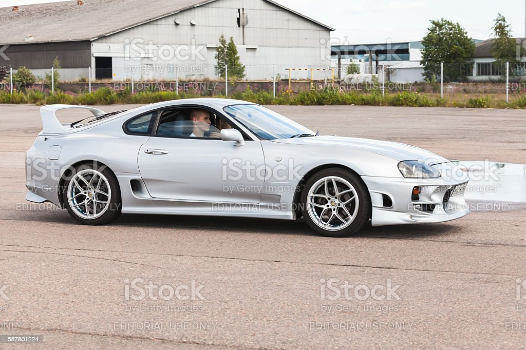 Custom light gray metallic Toyota Supra SZ car stock photo