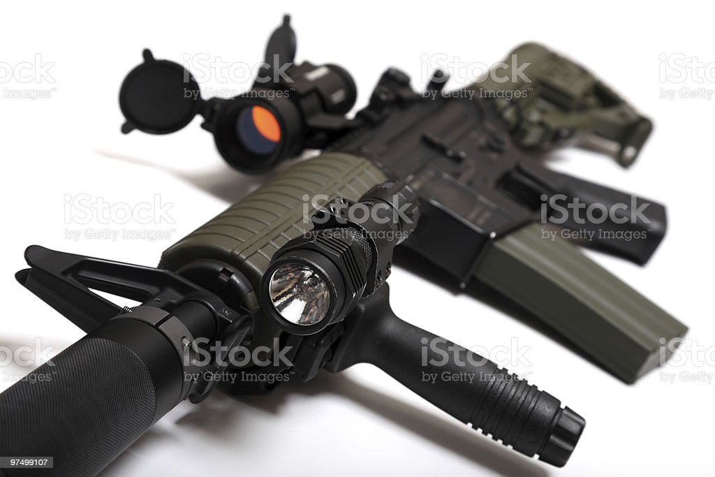 Custom M4A1 assault rifle for paramilitary contractors. stock photo