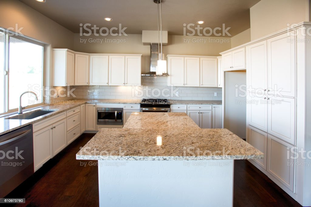 Custom Modern Residential Kitchen with Gas Stove stock photo