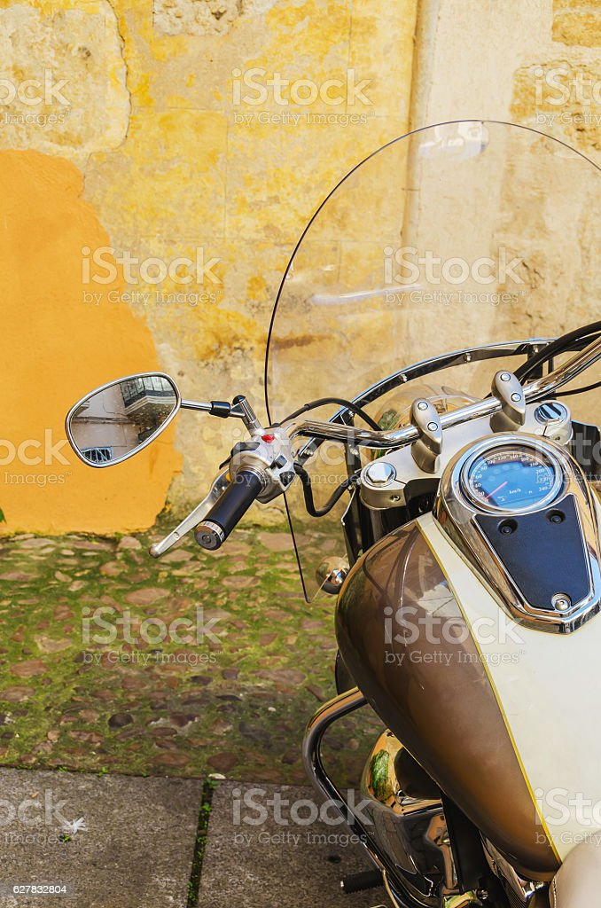 Custom motorcicle parked stock photo