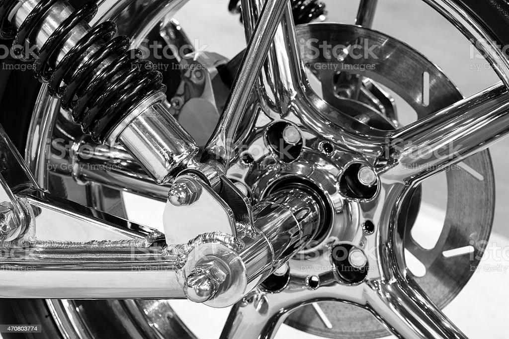 Custom motorcycle wheel stock photo
