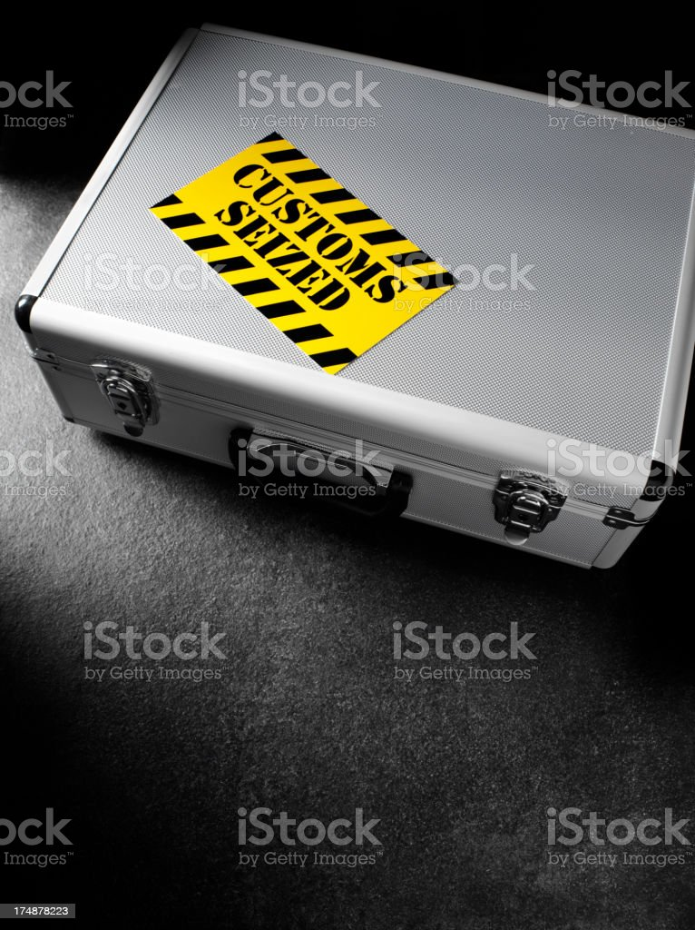 Custom Seized Label on a Attache Case stock photo