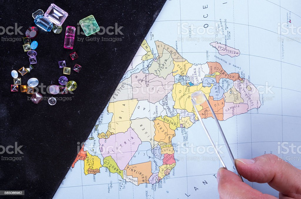 Customer and seller negotiate the purchase of precious gems stock photo