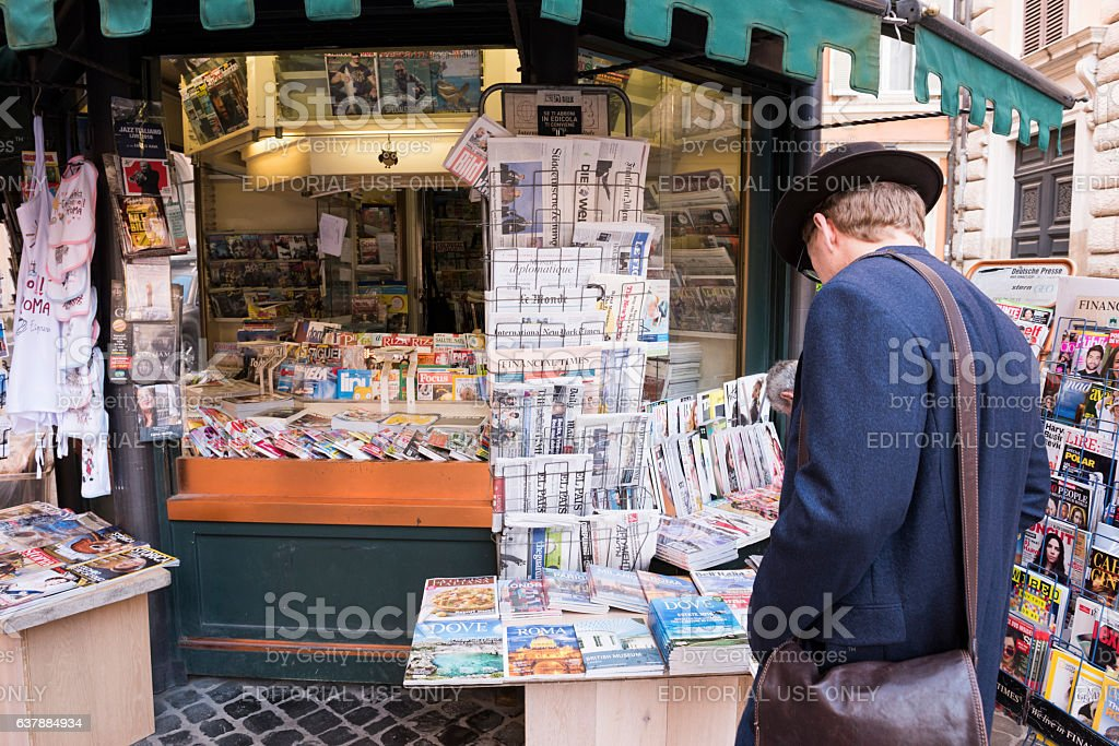 Customer at newsstand near Piazza della Rotonda in Rome, Italy stock photo