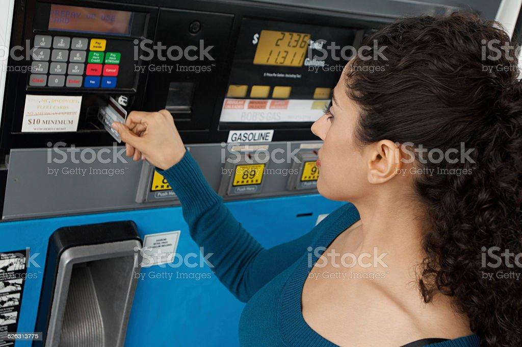 Customer at Petrol Station stock photo