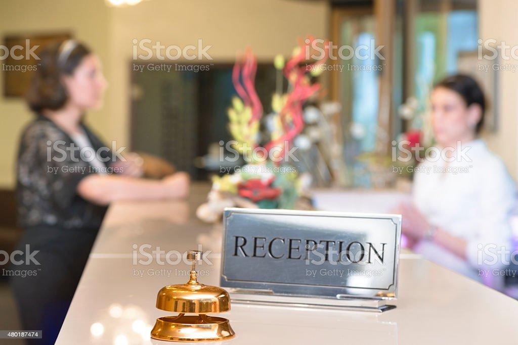 Customer at Reception stock photo