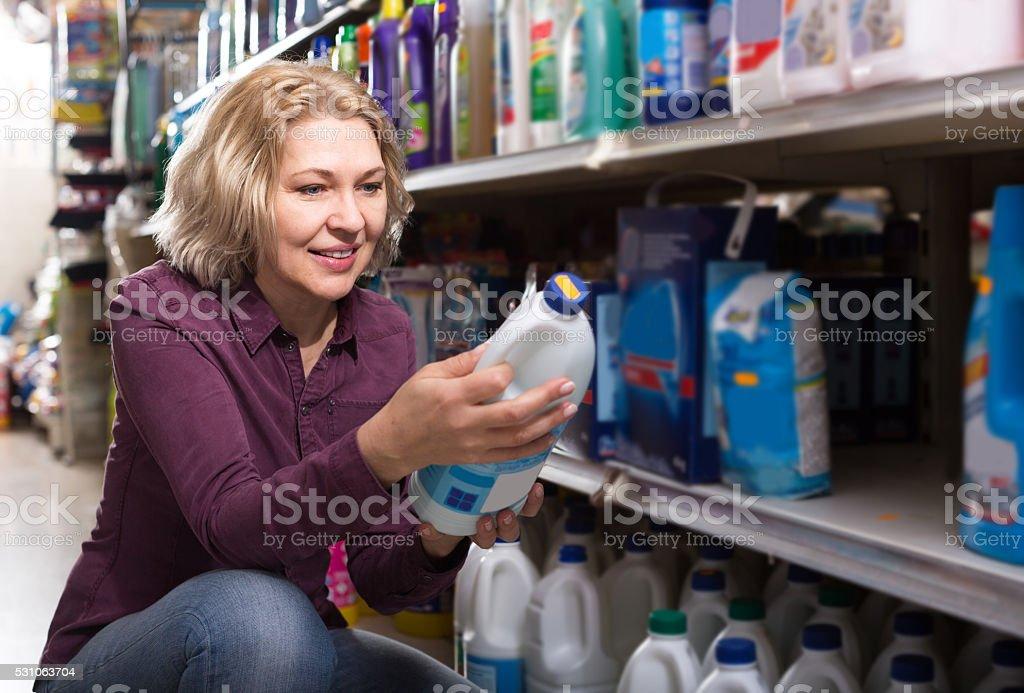customer buying detergents stock photo