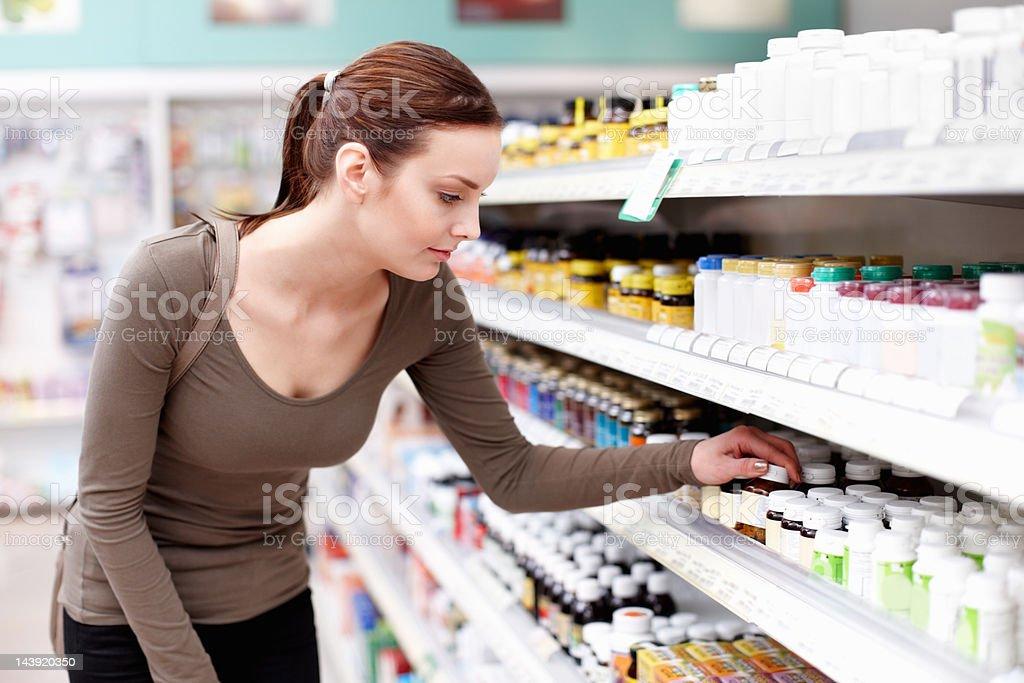 Customer buying medicine stock photo