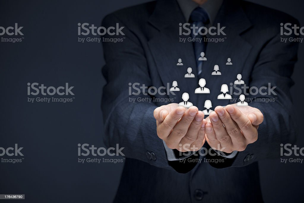 Customer care abstract concept on gray background stock photo