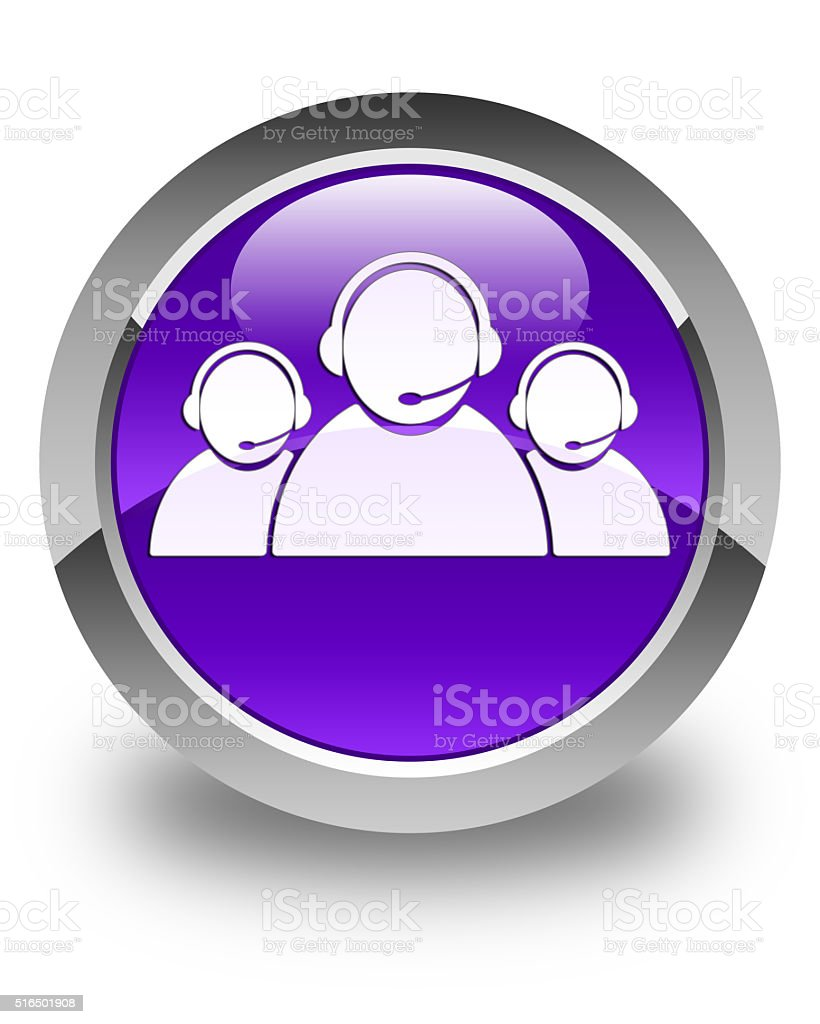 Customer care team icon glossy purple round button stock photo