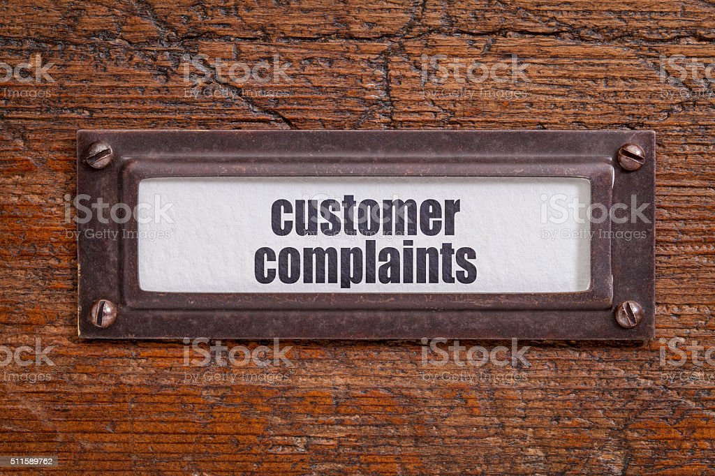 customer complaints  -  file cabinet label stock photo