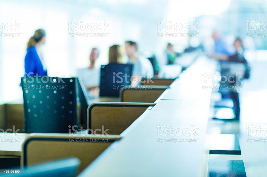 Customer help desk at exhibition center stock photo