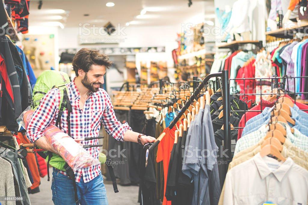 Customer in outdoor equipment mega store stock photo