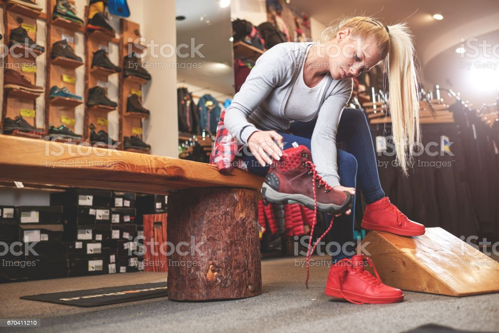 Customer in sports store stock photo