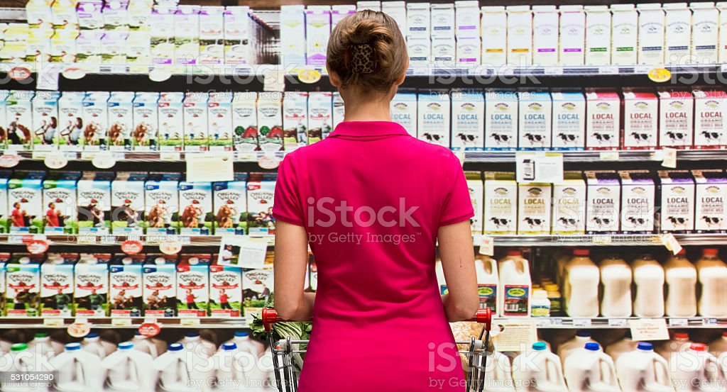 Customer in supermarket stock photo