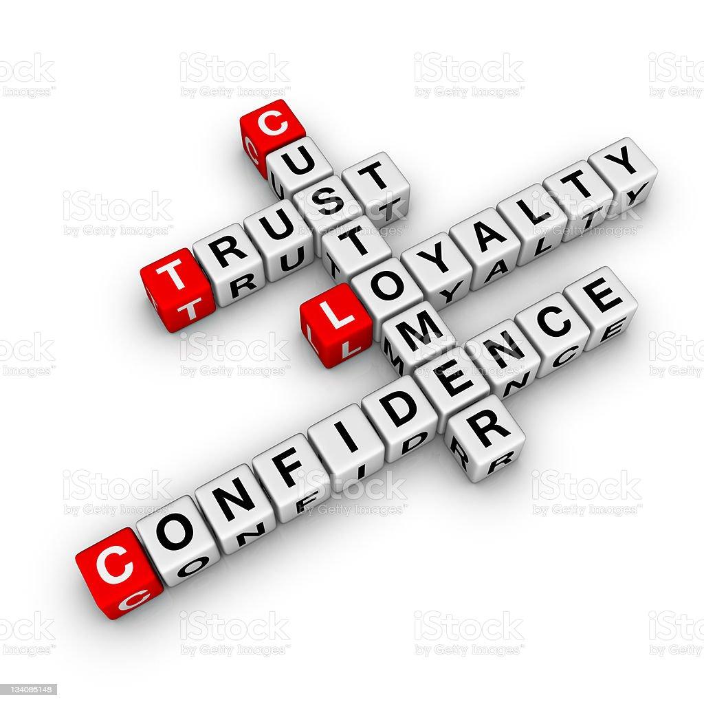 customer loyalty crossword stock photo
