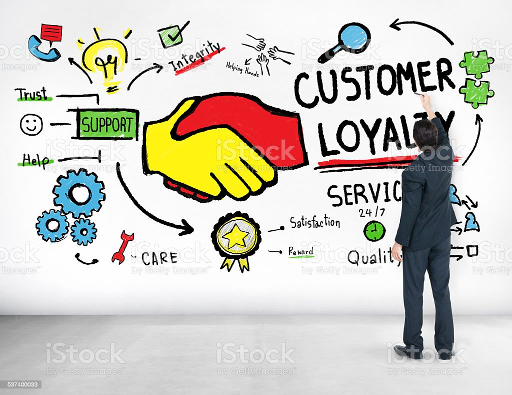 Customer Loyalty Service Support Care Trust Business Concept stock photo