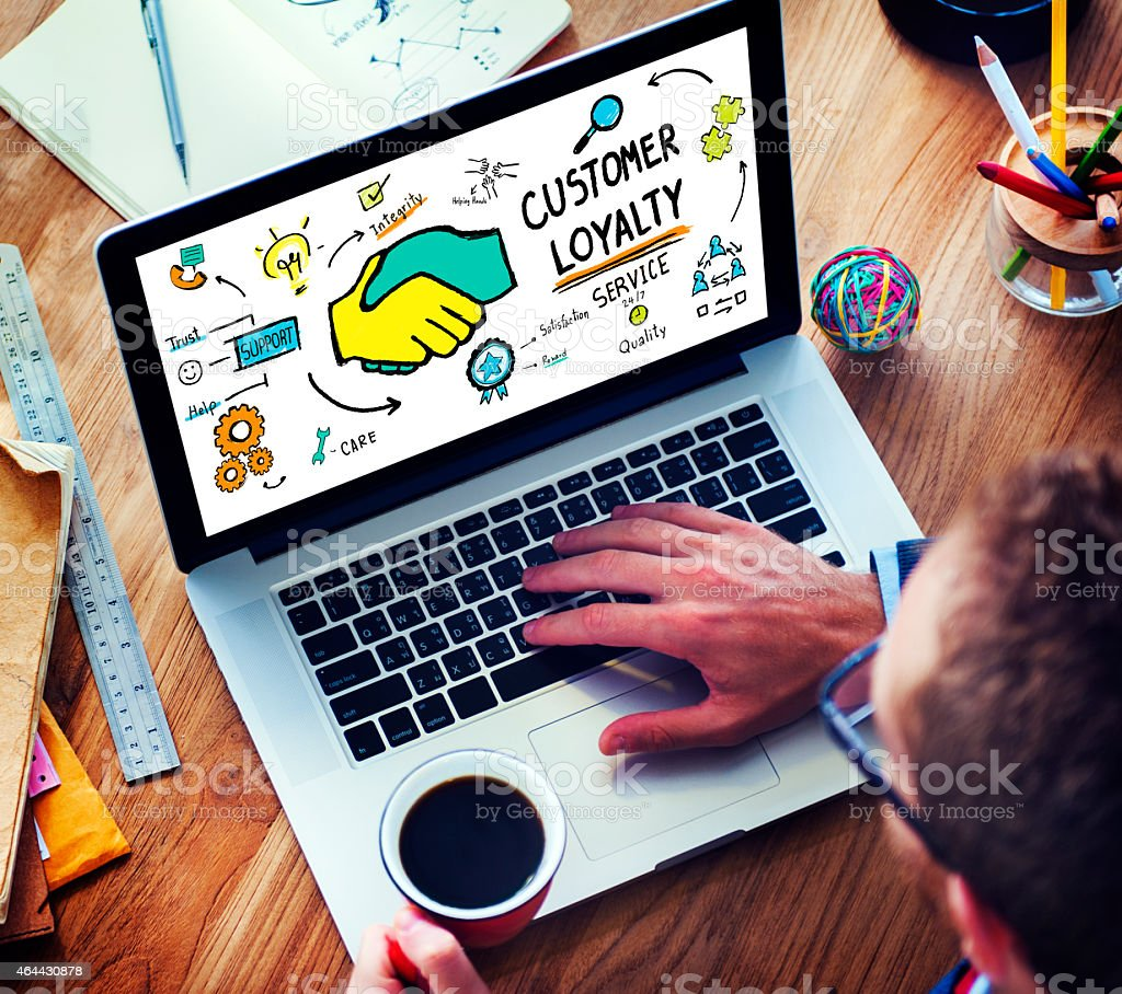 Customer Loyalty Service Support Care Trust Man Concept stock photo