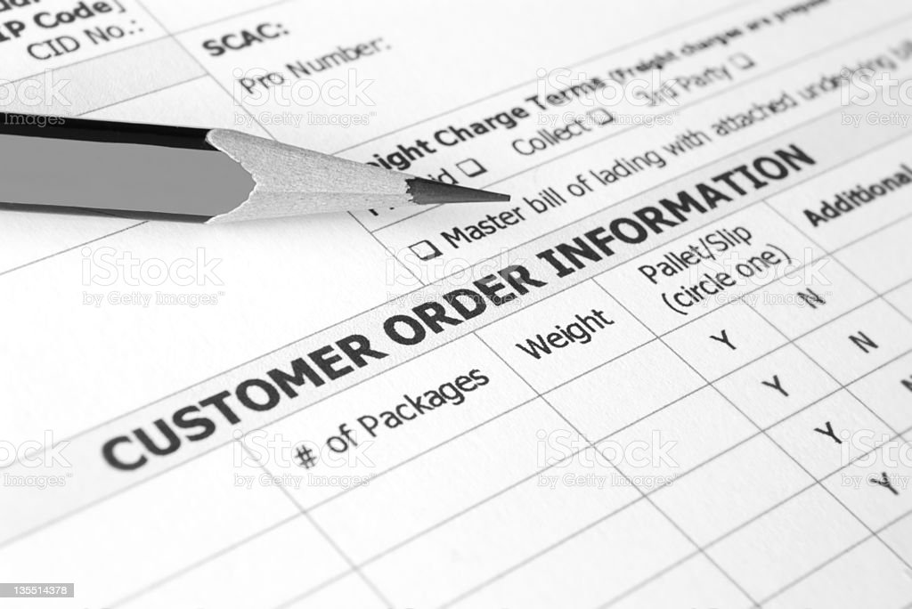 Customer order information form stock photo