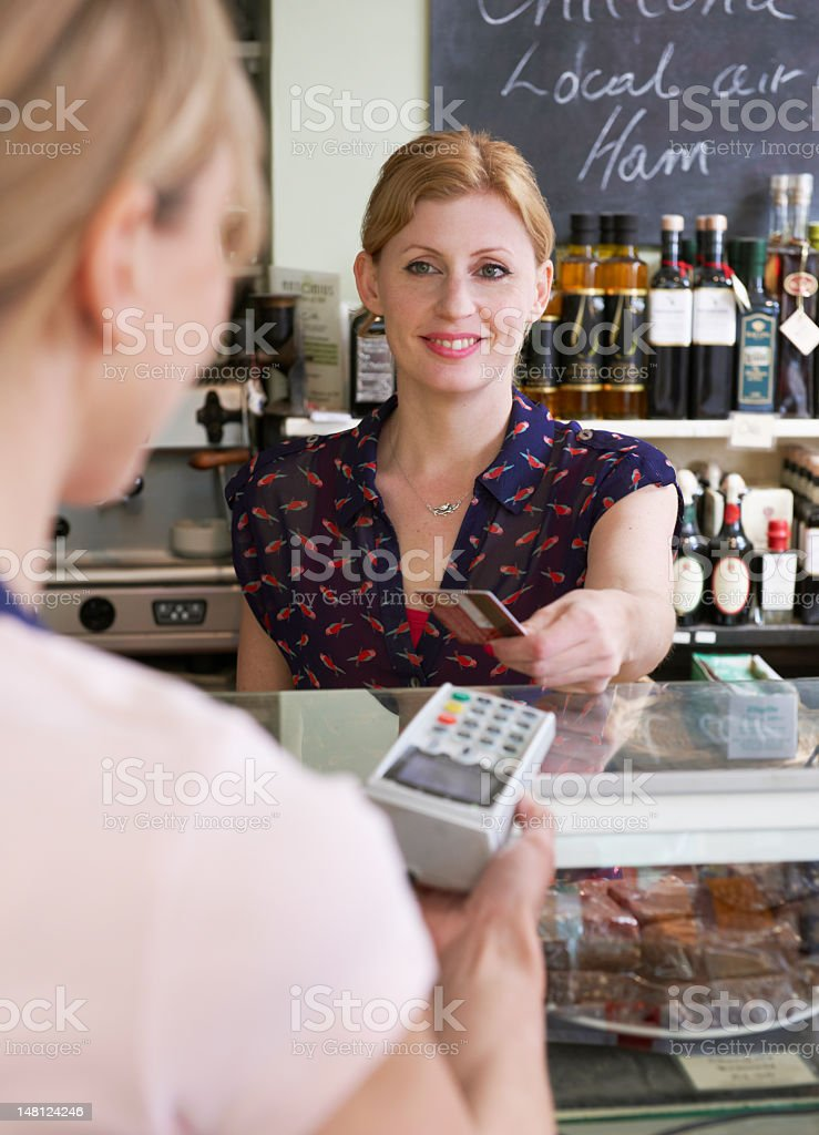 Customer Paying For Shopping In Delicatessen With Credit Card royalty-free stock photo