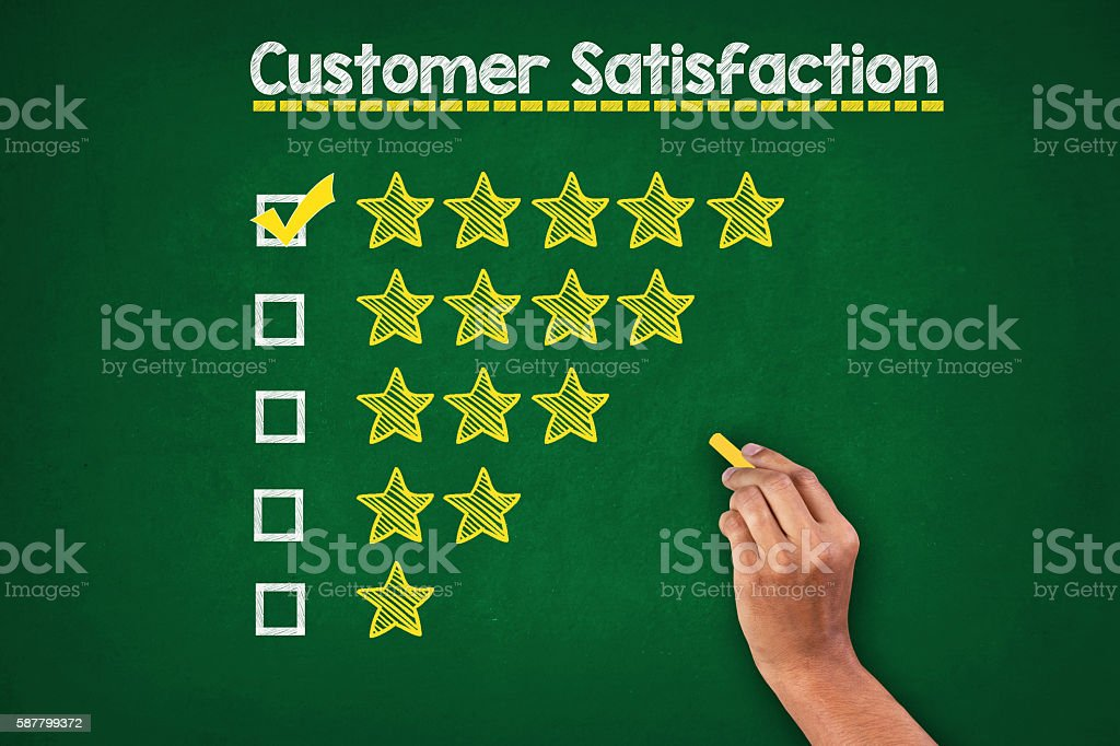 Customer Rating On Greenboard stock photo