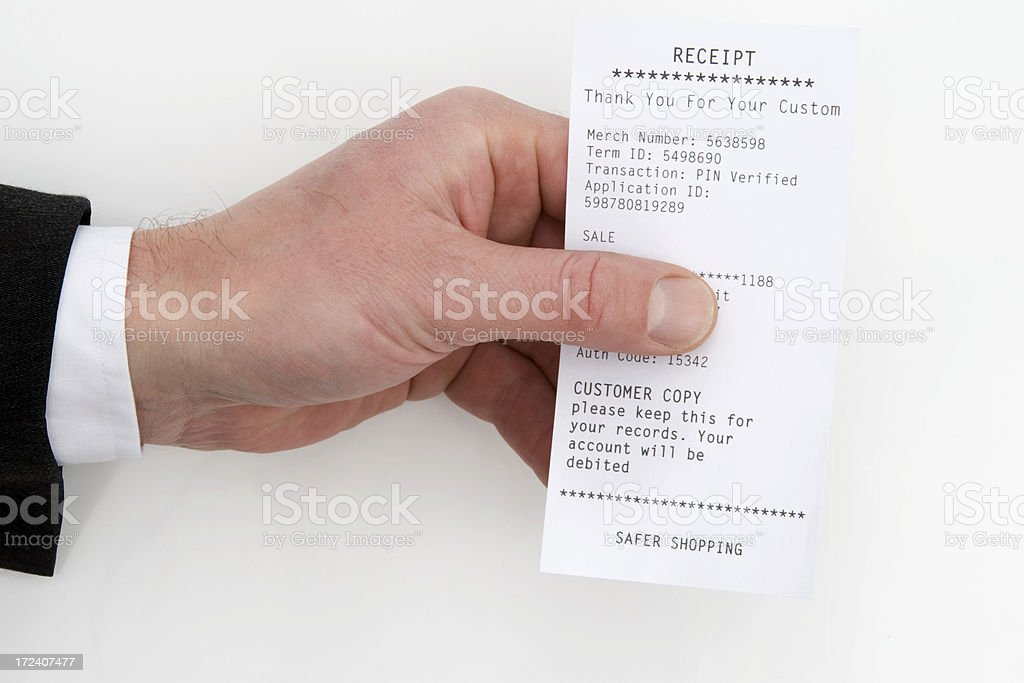 Customer Receipt stock photo