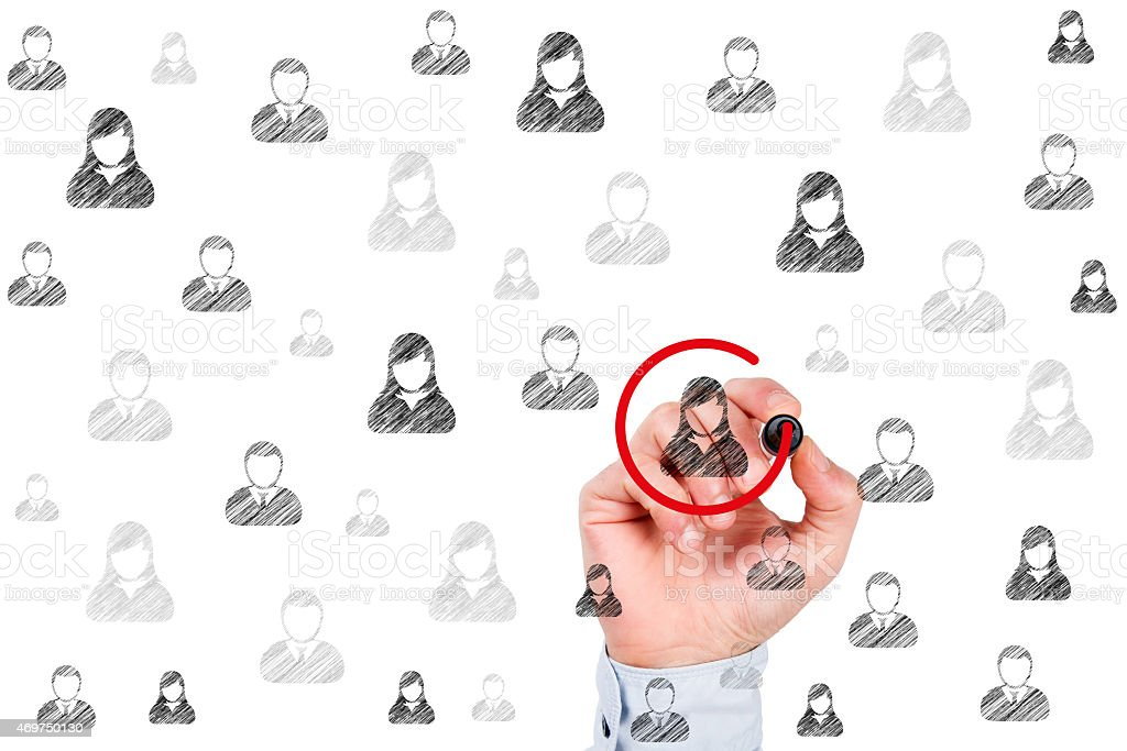 Customer Relationship Management and Leader Concepts on Whiteboard stock photo