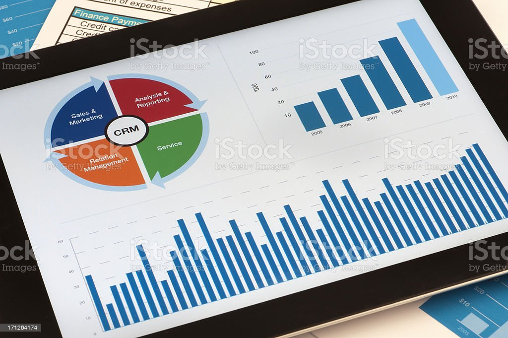 Customer Relationship Management chart on digital tablet royalty-free stock photo