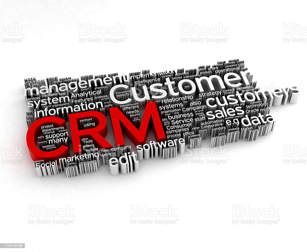 CRM - Customer Relationship Marketing 3d concepts stock photo